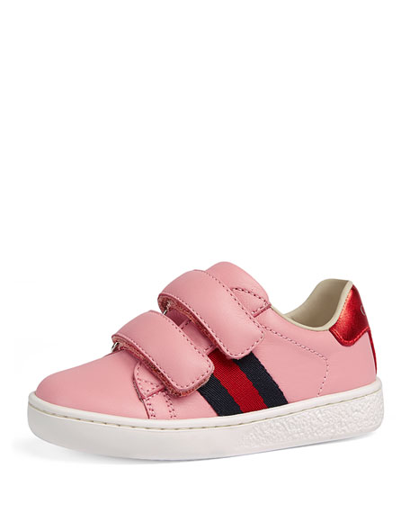 New Ace Web-Trim Leather Sneaker, Toddler