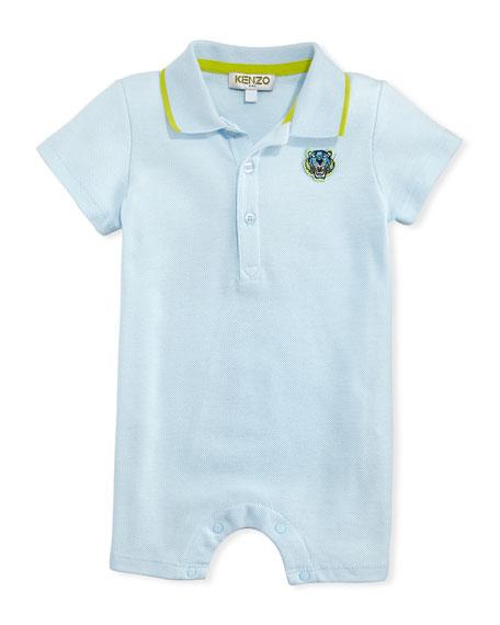 Pique Polo Romper, Blue, Size 3-18 Months