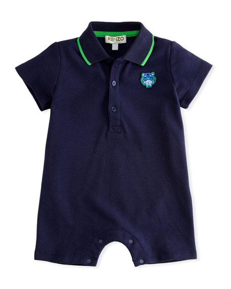 Kenzo Pique Polo Romper, Navy, Size 3-18 Months