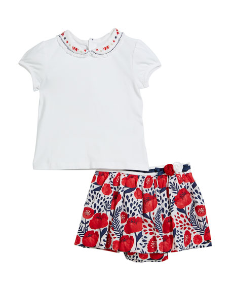 Mayoral Peter Pan Collar Tee w/ Floral Skort,
