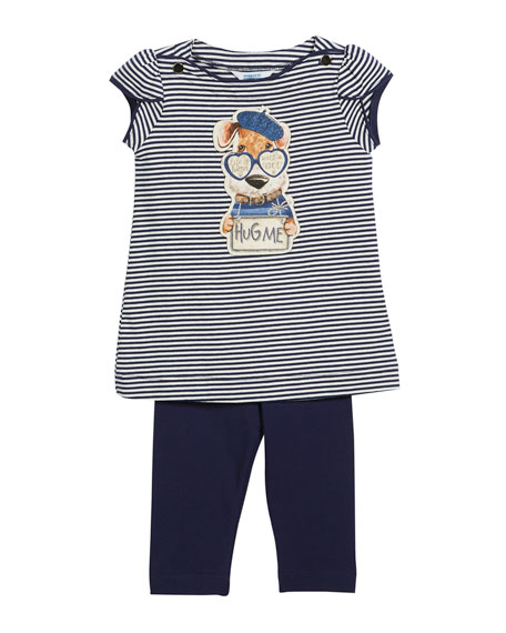 Mayoral Stripe Hug Me Dog T-Shirt w/ Leggings,