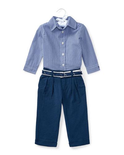 Button-Down Shirt w/ Broadcloth Pants, Size 9-24 Months