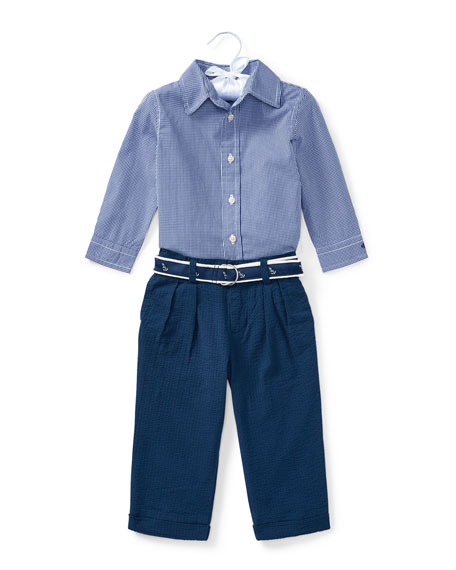 Ralph Lauren Childrenswear Button-Down Shirt w/ Broadcloth Pants,
