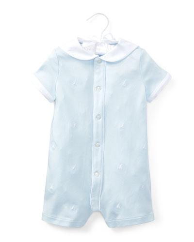 Interlock Sailor Embroidered Shortall, Size 3-18 Months