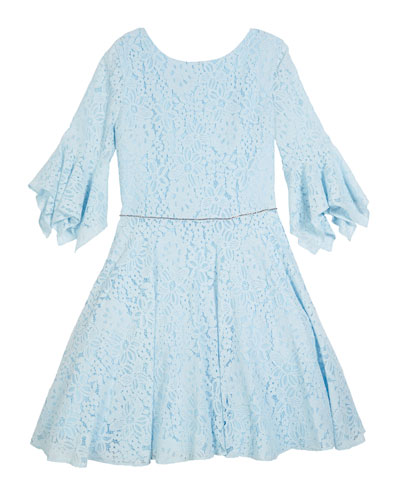 Lace Bell-Sleeve Dress, Size 8-16