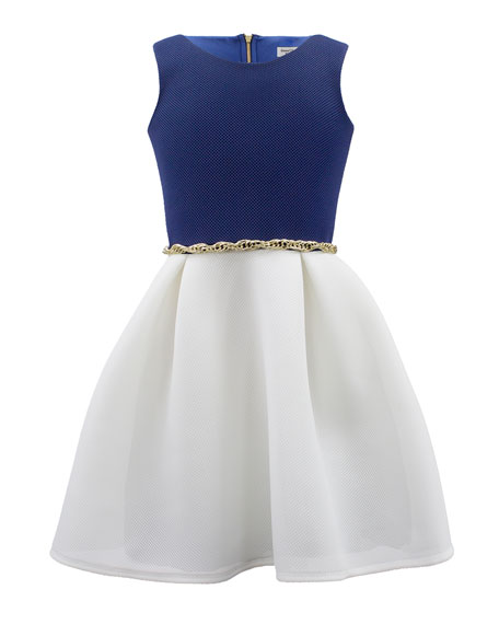 Two-Tone Sleeveless Dress w/ Chain Belt, Size 8-16