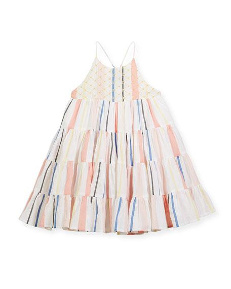 Velveteen Tiered Spaghetti-Strap Dress, Size 8-12