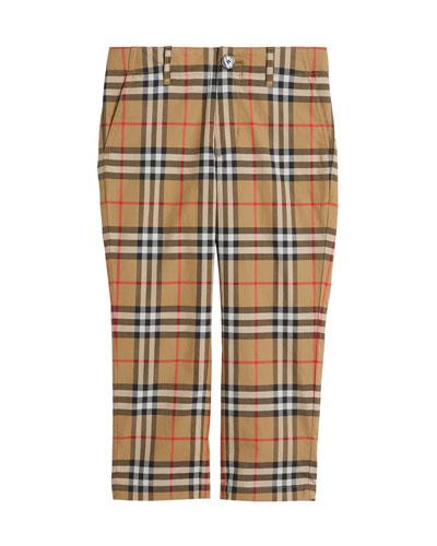 Teo Straight-Leg Check Twill Pants, Size 4-14