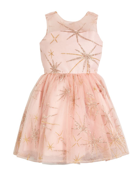 Zoe Sunrise Glitter Star Tulle Party Dress, Size