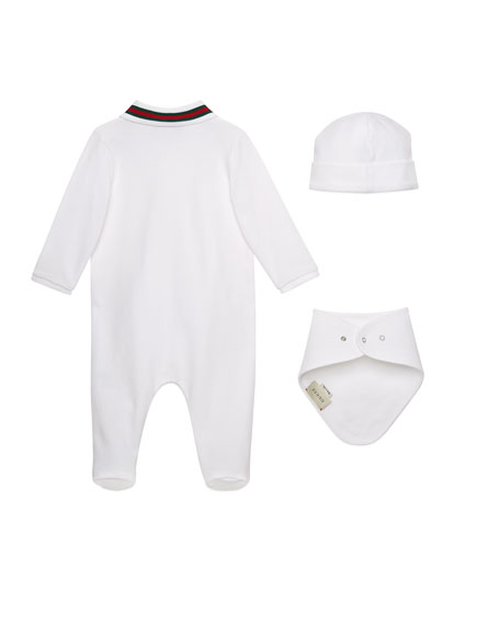 Gucci Embroidered Bee 3-Piece Layette Set, Size 0-9 Months