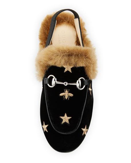 Gucci Princetown Velvet Bee-Embroidered Mule Slides, Toddler/Kids