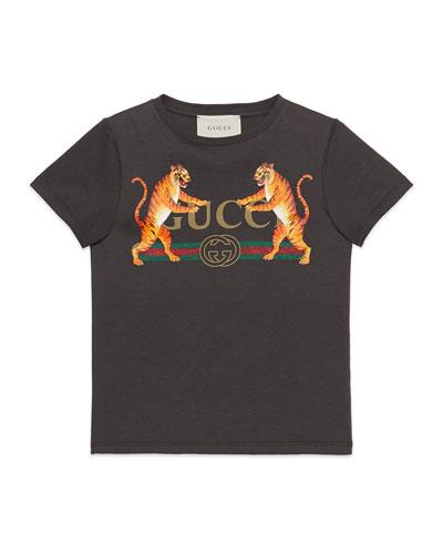 Vintage Logo & Tiger-Print Short-Sleeve T-Shirt, Size 4-10