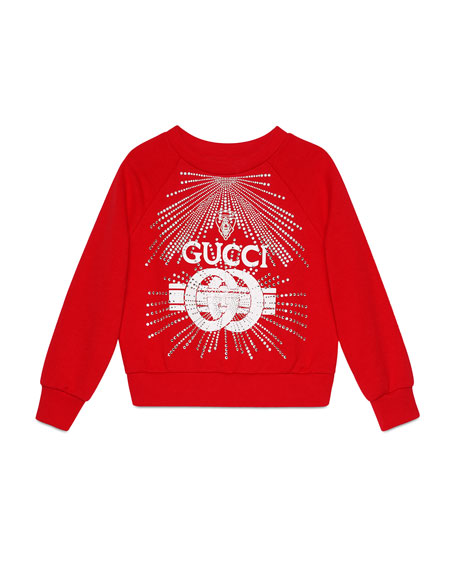 Logo Buckle-Print Sweatshirt w/ Crystal Detail, Size 4-10