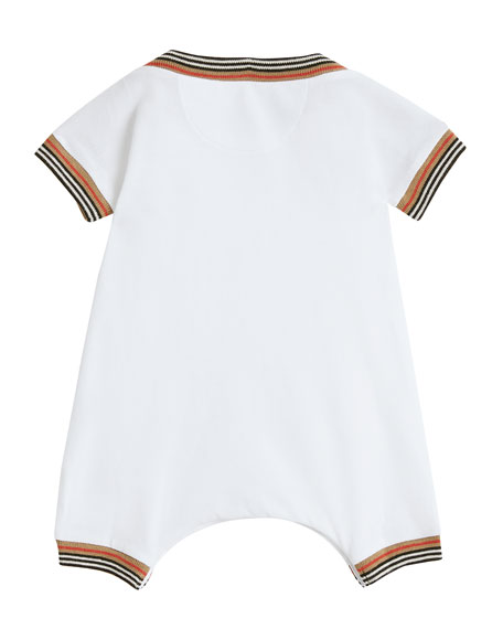Abia Striped-Trim Shortall w/ Hat, Size 1-18 Months
