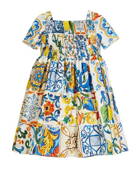 Maiolica-Print Cotton A-Line Dress, Size 8-12