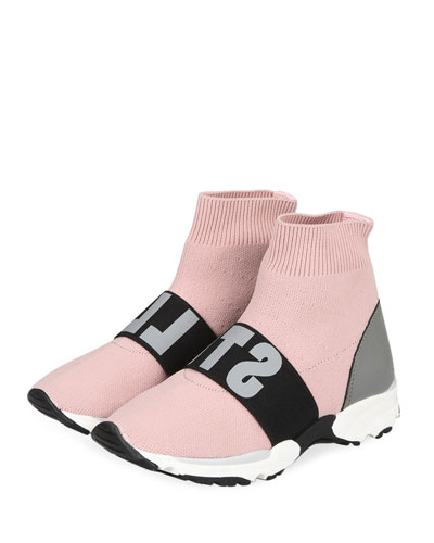 Stretch Knit High-Top Sock Sneakers w/ Logo Bands, Toddler/Kids