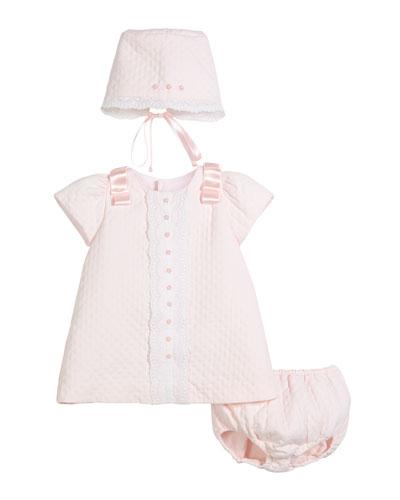 Pique Lace-Trim Dress w/ Bonnet & Bloomers  Size 3-24 Months