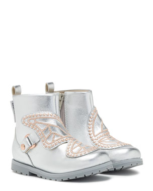 731eea6d019f Sophia Webster Karina Embroidered-Butterfly Metallic Leather Boots, Toddler /Kid