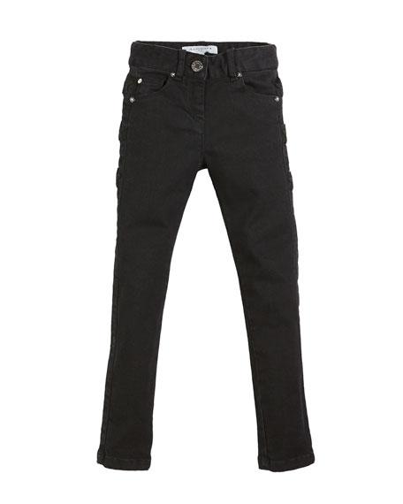 Givenchy Slim-Fit Leather-Trim Denim Pants, Size 6-10
