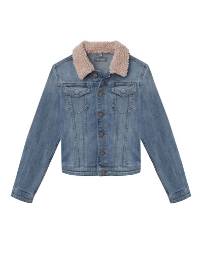 Light Wash Denim Jacket w/ Sherpa Collar, Size S-L