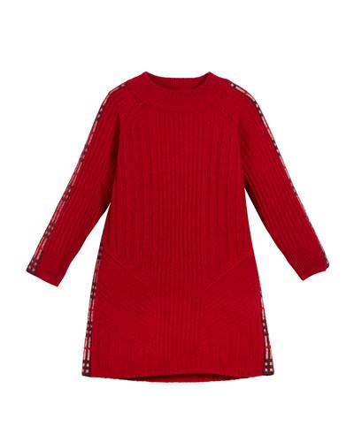 Cathina Check-Trim Knit Sweater Dress  Size 4-14