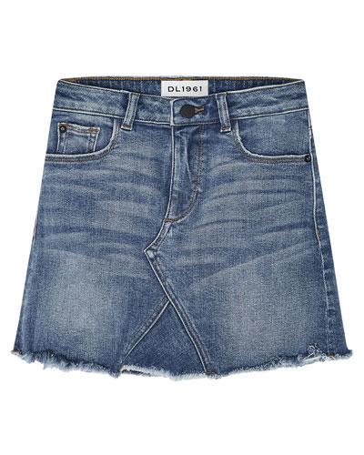 Girls' Jenny Raw-Edge Denim Mini Skirt  Size 7-16