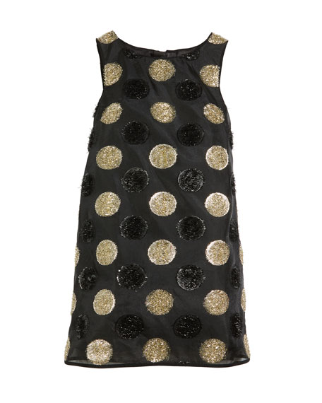 Milly Minis Textured Polka-Dot Angular Shift Dress, Size 4-7