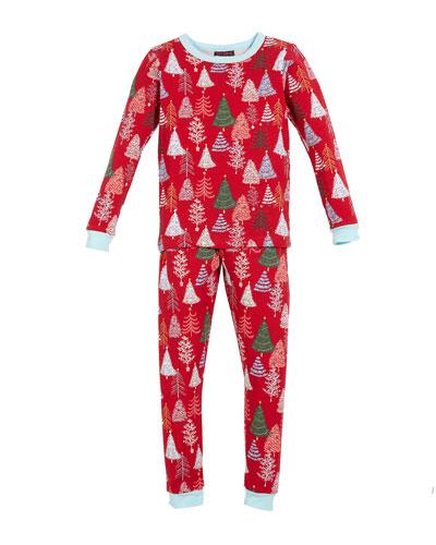 Holiday Trees Pajama Set  Size 2-8