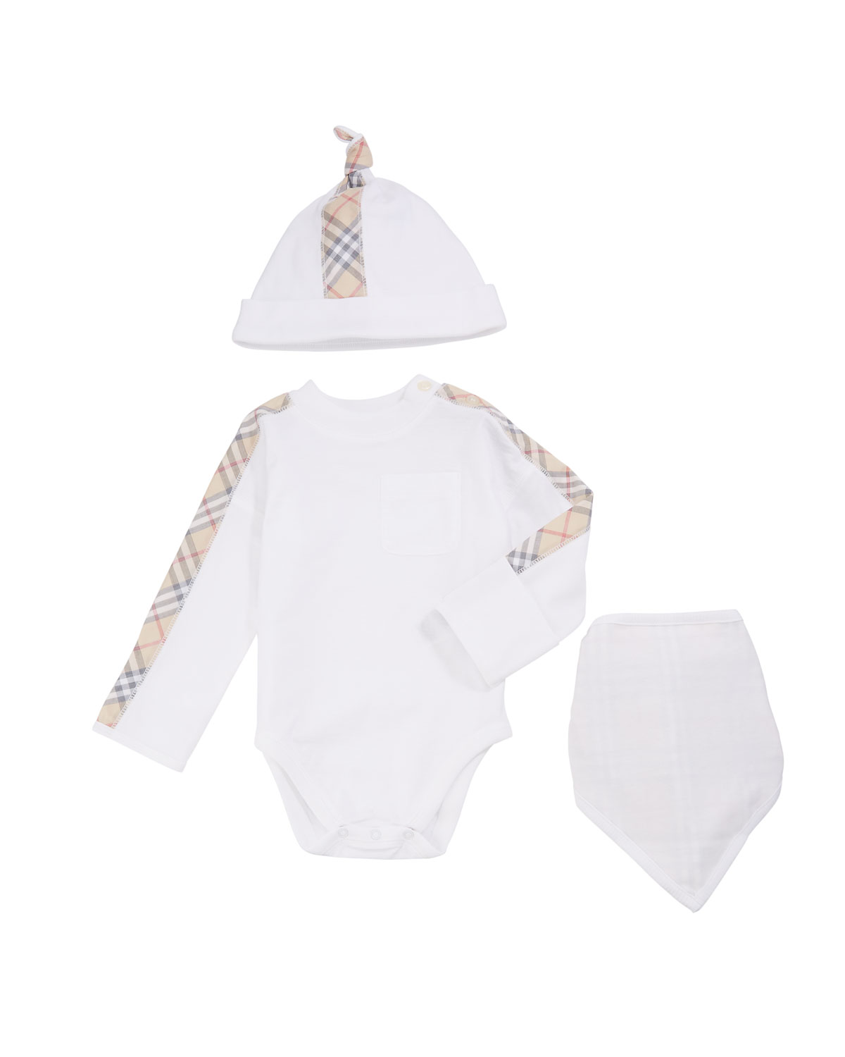 Burberry Alby Check-Trim 3-Piece Layette Set, Size 1-18 Months