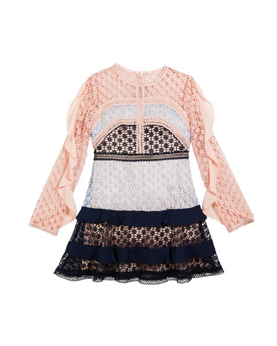 Arabella Ruffle-Trim Colorblock Lace Dress  Size 8-16