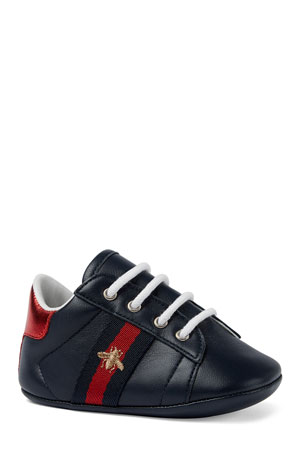 Gucci New Ace Bee Embroidery Web-Trim Leather Sneakers, Baby/Toddler