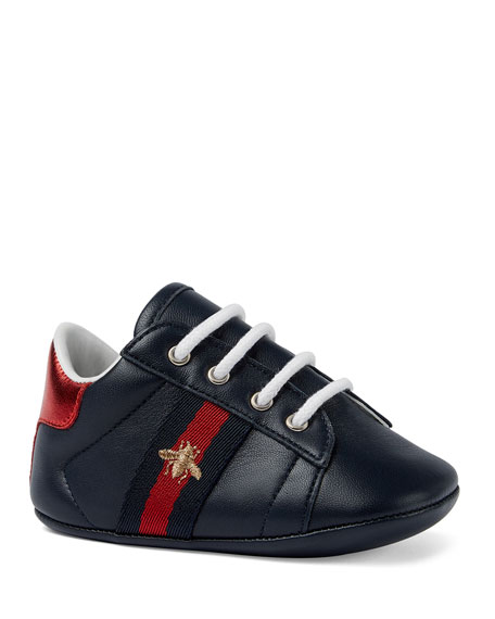 Gucci New Ace Bee Embroidery Web-Trim Leather Sneakers,