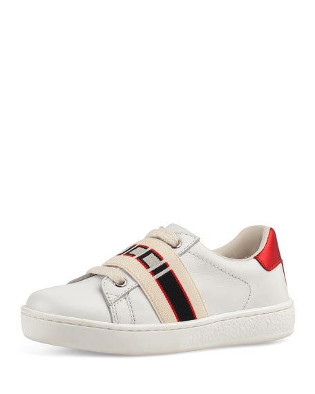 Gucci New Ace Gucci Band Leather Sneaker, Toddler