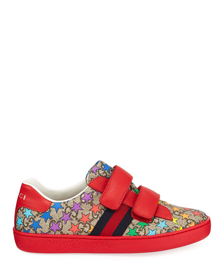 Gucci New Ace GG Supreme Rainbow Star-Print Sneakers, Toddler/Kids