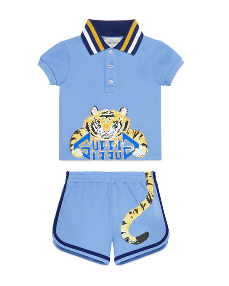 Gucci Tiger Graphic Polo Top w/ Matching Shorts, Size 3-36 Months