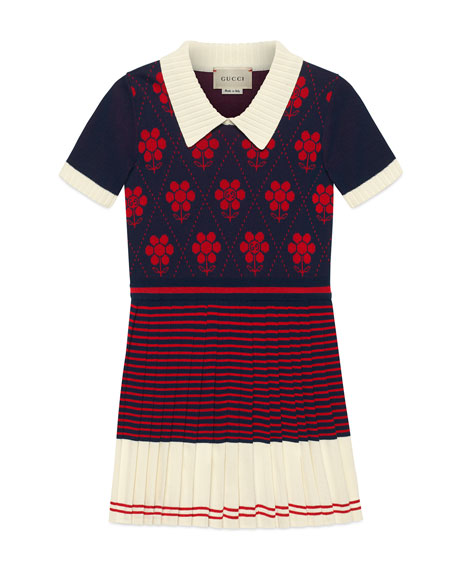 Gucci Flower Argyle Knit Dress, Size 4-12