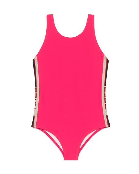 Gucci Solid One-Piece Swimsuit w/ Logo Sides, Size 4-12