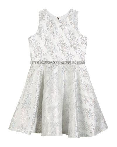Kelsey Iridescent Brocade Embellished Swing Dress  Size 7-16