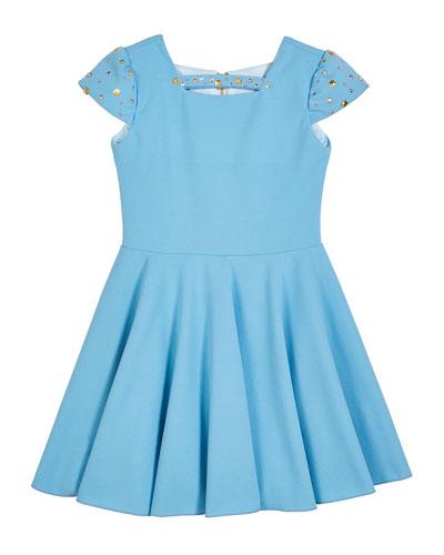 Riley Studded Cap-Sleeve Swing Dress  Size 7-16