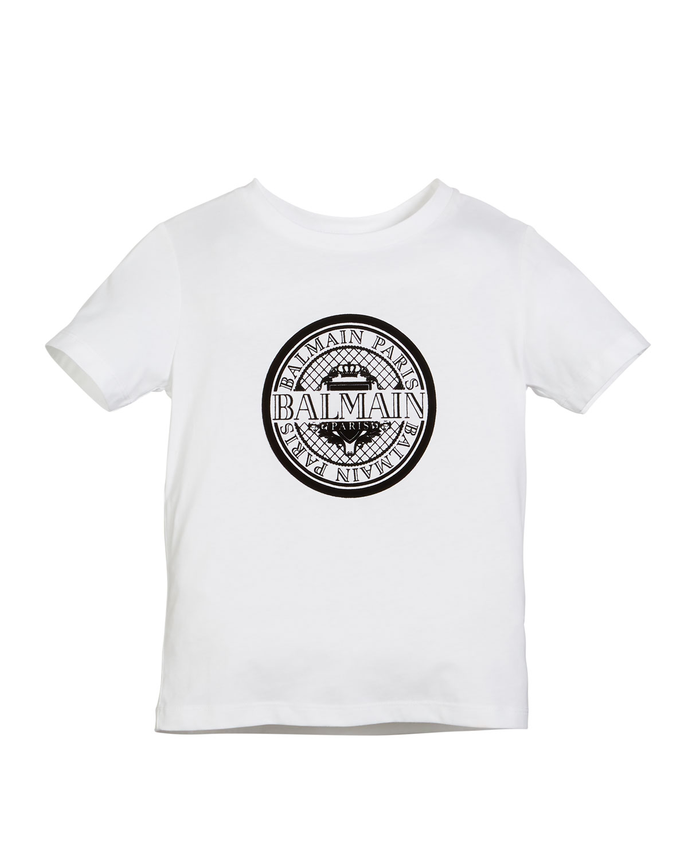 6d0c1f0c Balmain Short-Sleeve Coin Logo Graphic Tee, Size 4-10   Neiman Marcus