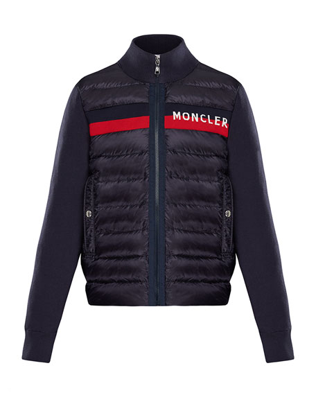 Moncler Quilted Zip-Front Jacket w/ Knit Trim, Size