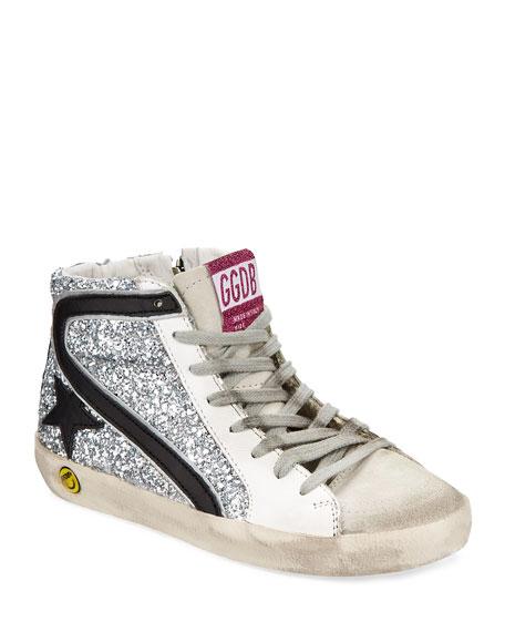 Golden Goose Slide High-Top Sequin Leather Sneakers, Toddler
