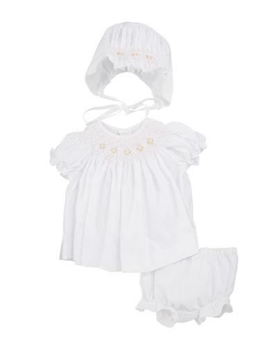 Smocked Bishop Dress w/ Bonnet & Bloomers  Size Newborn-9 Months