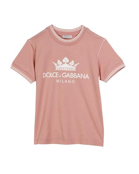 Dolce & Gabbana Crown D&G Logo Ringer Tee, Size 4-6