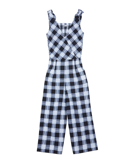 Habitual Kasie V-Neck Plaid Jumpsuit, Size 7-14