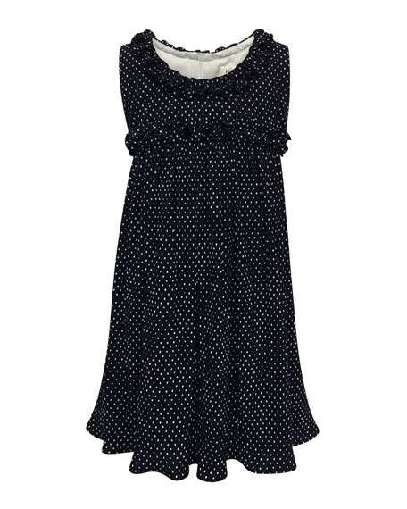 Helena Tiny Dots Empire Ruffle-Trim Dress, Size 7-14
