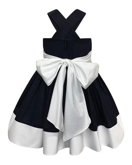 Helena Colorblock Bow-Back Sun Dress, Size 2-4