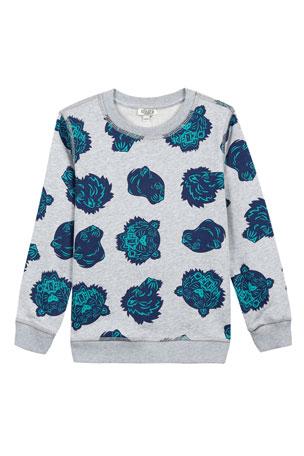 Kenzo Allover Tiger Head-Print Sweatshirt, Size 8-12