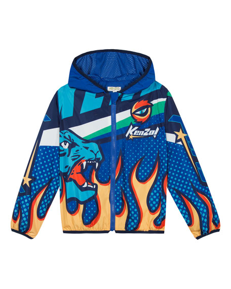 Kenzo Flames & Logo Printed Wind Jacket, Size 8-12