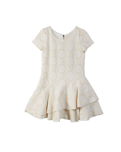 Halo Circle Metallic Knit Flounce-Hem Dress  Size 7-16